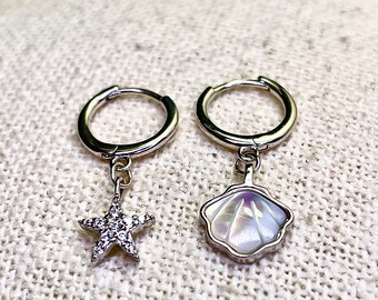 Earrings hoops, real silver 925, star zirconia and shell with mother-of-pearl, jewelry, stud earrings, earrings