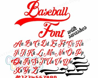 Baseball Font SVG, Eps, Dxf, SIlhouette Numbers Cut file for Cricut Explore Silhouette Cameo Curio, Cuttable Designs for cutting machines