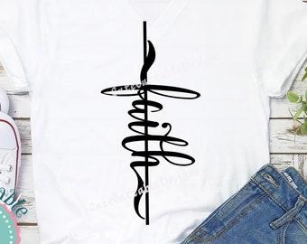 ace5656d Faith SVG, Faith Cross svg, Christian sideways cross T shirt iron on  design, easter Christ SVG Eps, Dxf, Png, Silhouette, Cricut Cut file