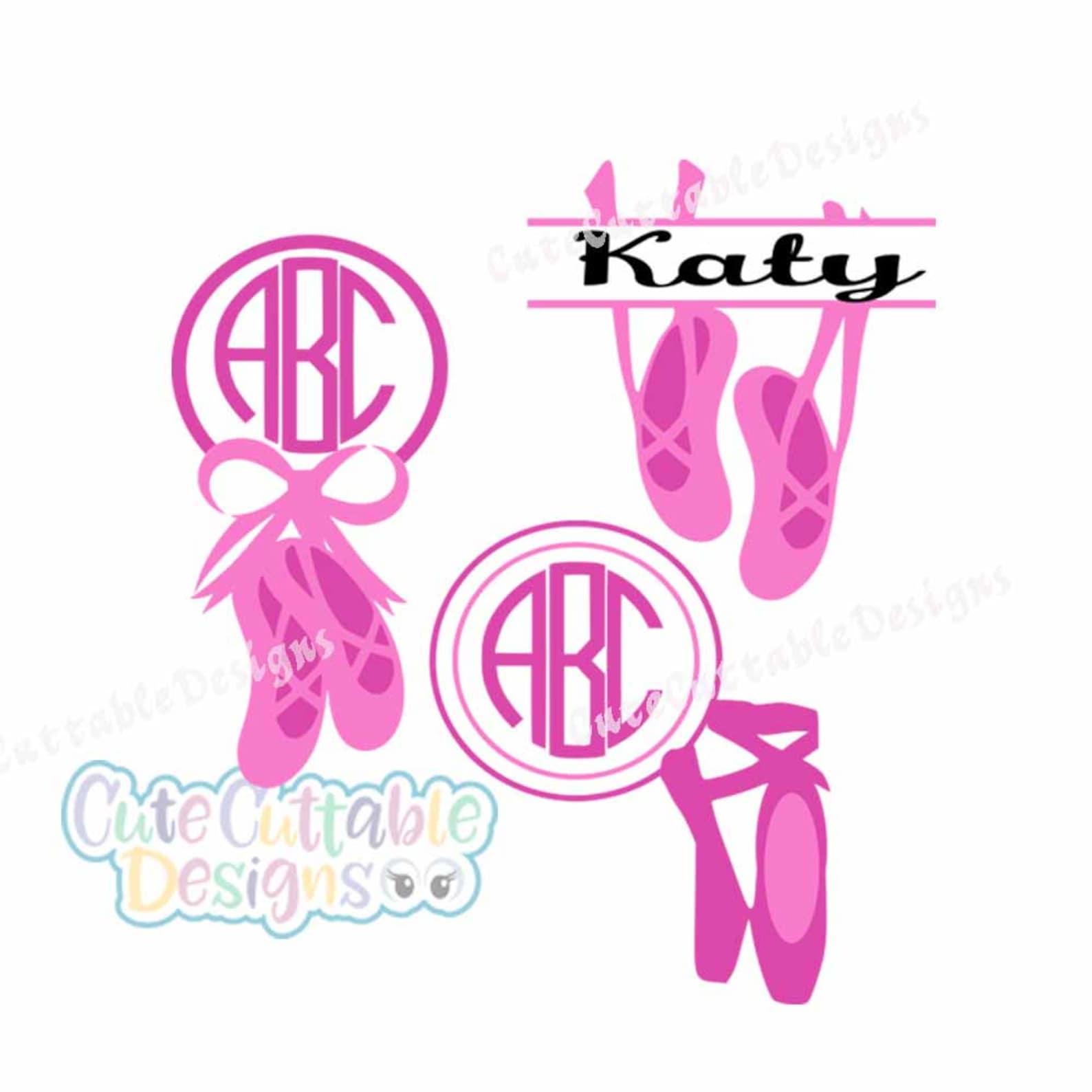 ballet svg, ballerina svg, monogram slippers svg file dance svg, eps, dxf,studio printable png, silhouette cricut cut file insta