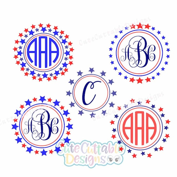 Star Monogram Frame Svg 4th Of July Fourth Of July Summer Etsy