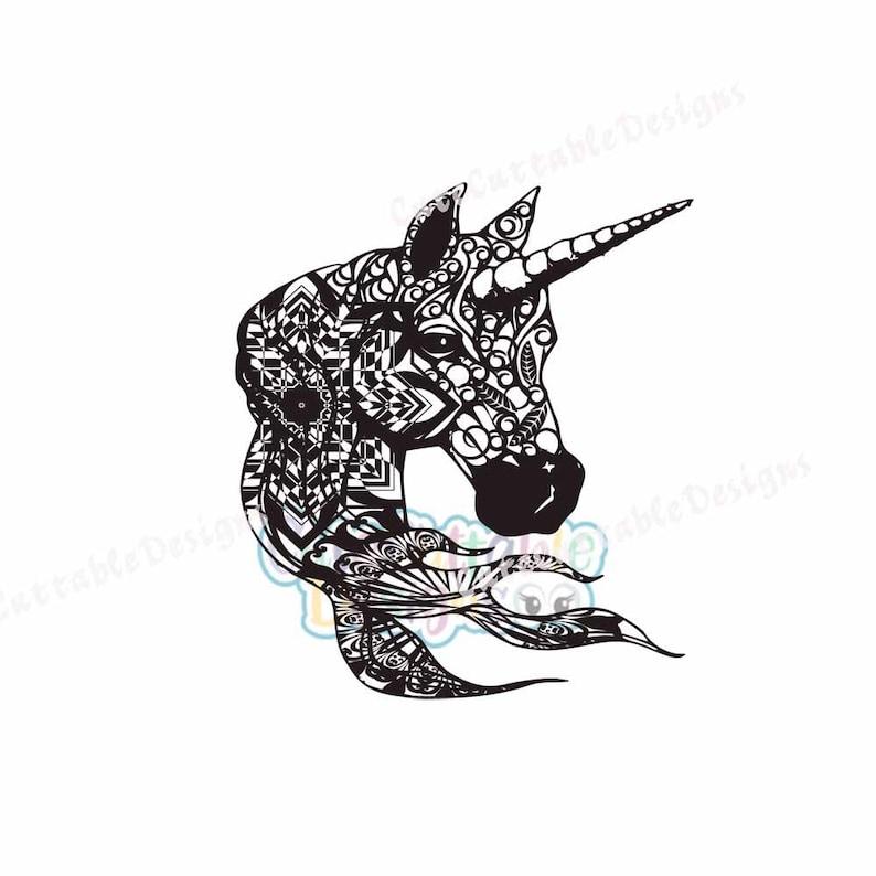 Zentangle Unicorn SVG, Boho Ethnic Unicorn Head Svg, Unicorn Cut File,  Printable Png, Silhouette, Cricut, Scan n Cut EPS, DXF, Studio