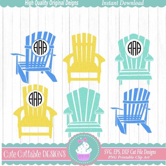 Adirondack Beach Chair Svg Summer Svg Monogram Frame Ocean Etsy