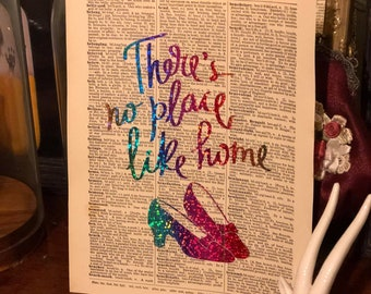 There's no place like home rainbow glitter foil Dictionary Art Print Wizard of Oz
