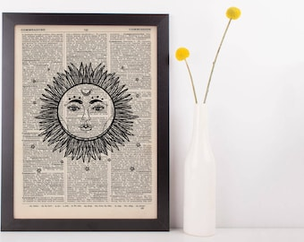 Celestial Sun and Moon Dictionary Print