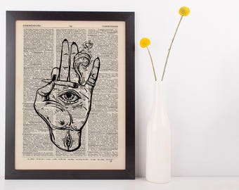 Indica Spliff Smoking hand Eye Dictionary Illustration Art Print Vintage Weed