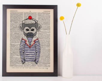 Sea Monkey Dictionary Art Print Animals Humans Anthropomorphic Nautical Sea