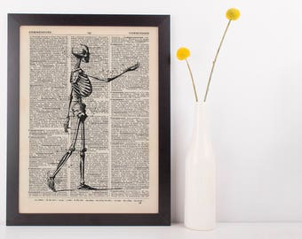 Anatomical Side Skeleton Dictionary Art Print,Medical Anatomy Vintage