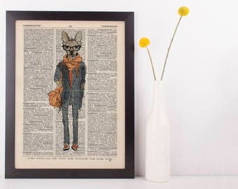 Deer Student Dictionary Art Print Animals Clothes Anthropomorphic