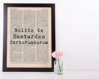 Nolite bastardes Carbonodorum Dictionary Art Print Handmaid's tale Latin
