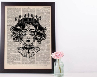 Surreal 4 Eyes Devil Halo Dictionary Print