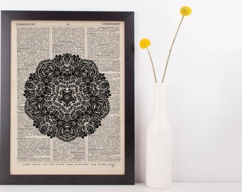 Fancy Flower Mandala Dictionary Print