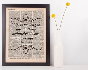 Life is too long to say anything Dictionary Art Print Book Gift Leo Tolstoy