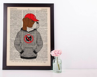 Boxer in a Hoody Dictionary Art Print Wall Vintage Picture Animal in Clothes