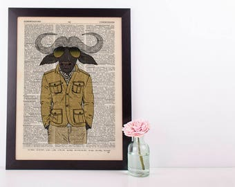 Buffalo in a Jacket Dictionary Art Print Wall Vintage Picture Animal Clothes