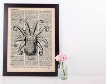 Octopus Tentacles Dictionary Illustration Art Print Vintage Sea Nautical