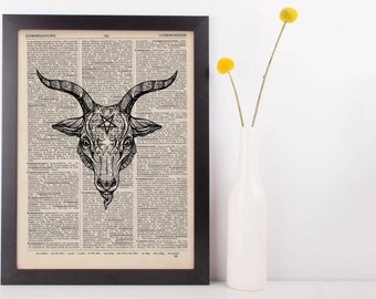 Baphomet Pentagram Head Dictionary Print