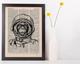 Monkey Astronaut Dictionary Art Print Animals Clothes Anthropomorphic Human