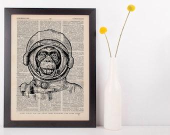 Monkey Astronaut Dictionary Art Print Animals Clothes Anthropomorphic Human