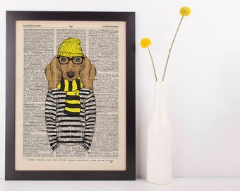 Dog in stripey scarf and jumper Dictionary Art Print Vintage Animal in Clothes