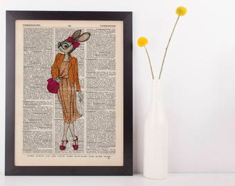 Bunny Lady Dictionary Art Print Animals Clothes Anthropomorphic