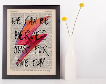 We Can Be Heroes Quote Dictionary Art Print, Vintage David Bowie