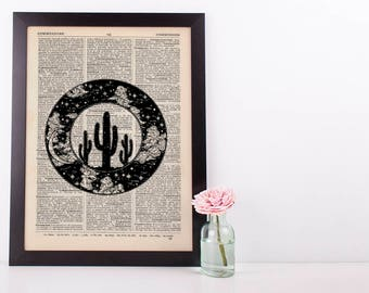Circle Western Cactus Plant Hipster Dictionary Art Print Vintage
