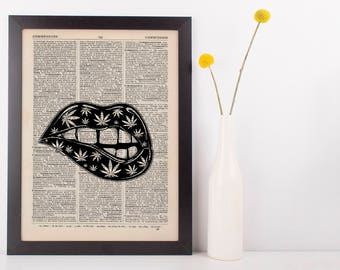 Indica Marijuana Lips Dictionary Illustration Art Print Vintage Marijuana Weed