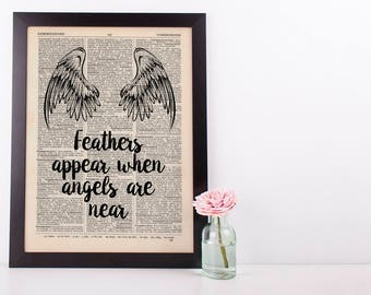 Feathers appear Dictionary Art Funny Wall Decor Art Loss Remembrance Angel