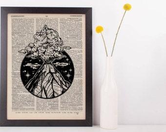 Volcano Circle Dictionary Print