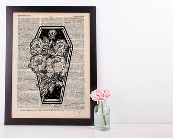 Coffin Roses Plant Hipster Dictionary Art Print Vintage Alternative
