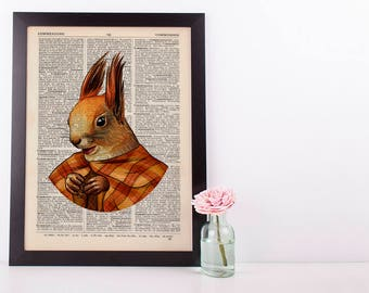 Squirrel in a cape Dictionary Art Print Animals Clothes Anthropomorphic