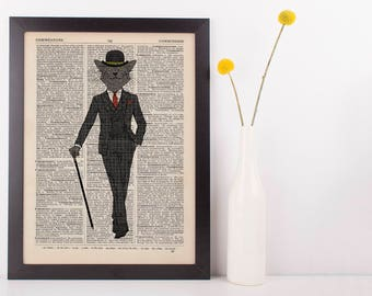 Cat in a Suit Dictionary Art Print Wall Vintage Picture Animal In Clothes