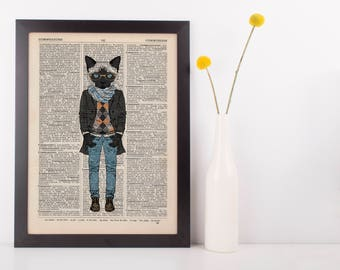 Scarf Cat Dictionary Wall Picture Art Print Vintage Animal In Clothes