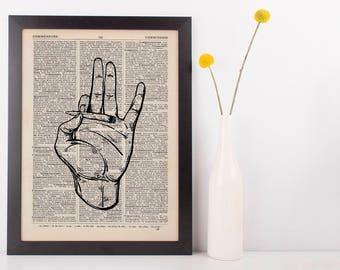 Indica Spliff Smoking hand Dictionary Illustration Art Print Vintage Weed