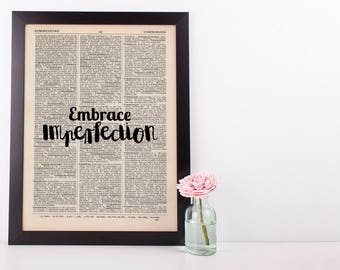 Embrace Imperfection Dictionary Art Print Inspire Motivational