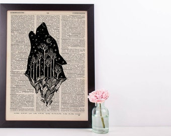 Moonlight Wolf Iceberg Dictionary Print