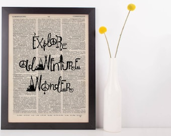 Explore Adventure Wander Dictionary Print