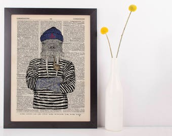 Sailor Walrus Dictionary Art Print Animals Humans Anthropomorphic Nautical Sea