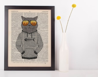 Hoody cat Dictionary Wall Picture Art Print Vintage Animal in Clothes