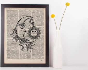 Moon With Hanging Sun Dictionary Print