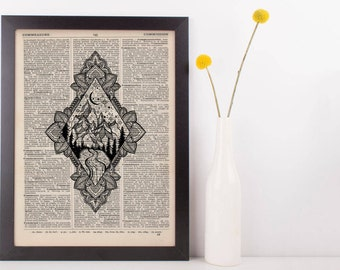 Diamond Moonlight Mandala Mountains Dictionary Print