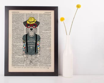 Tattooed Terrier Dictionary Wall Picture Art Print Vintage Animal In Clothes