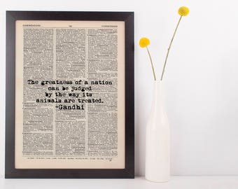 The Greatness of a Nation Gandhi Dictionary Art Print Inspire Motivational