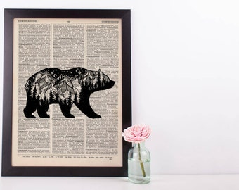 Mountain Moonlight Bear Dictionary Print
