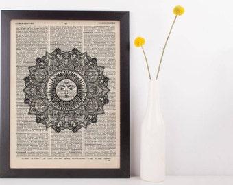 Celestial Sun Mandala Dictionary Print