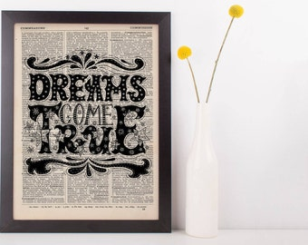 Dreams Come True Quote Dictionary Print