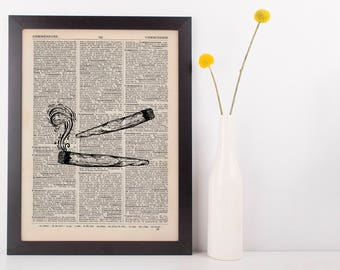 Indica Joints Dictionary Illustration Art Print Vintage Marijuana Weed