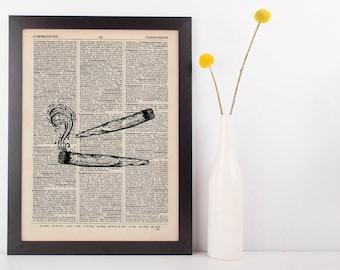 Indica Joints Dictionary Illustration Art Print Vintage Marijuana Weed