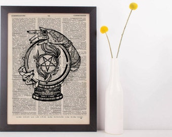 Crystal Ball Pentagram Tattoo Dictionary Print